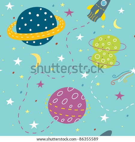 cartoon seamless pattern with planets - stock vector