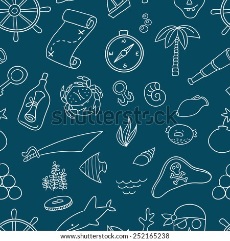 Cartoon seamless pirate pattern. Hand drawn pirate pattern made in vector. Anchor, spyglass, boat, map and other symbols. - stock vector