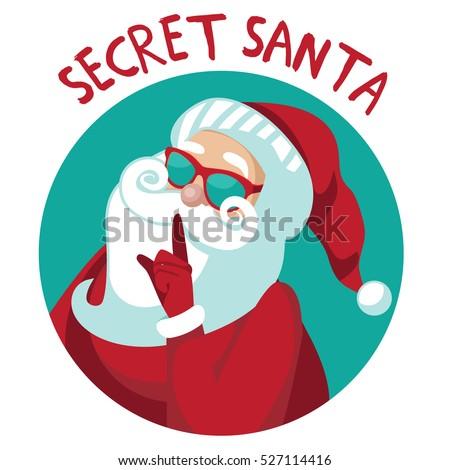 cartoon secret santa christmas illustration santa stock vector 2018 rh shutterstock com  secret santa clip art black and white