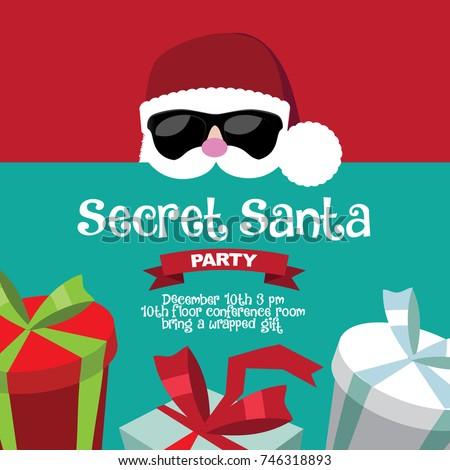 Cartoon Secret Santa Christmas Party Background Stock Vector ...