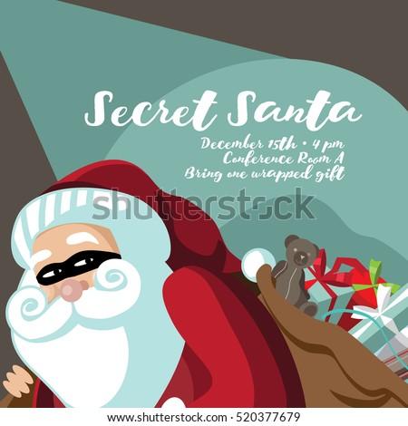 Cartoon Secret Santa Invitation Template Santa Stock Vector (Royalty ...