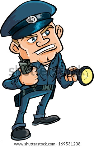 Cartoon security guard with flashlight. Isolated on white - stock vector