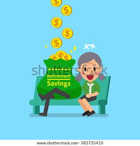 Cartoon senior woman earning money - stock vector