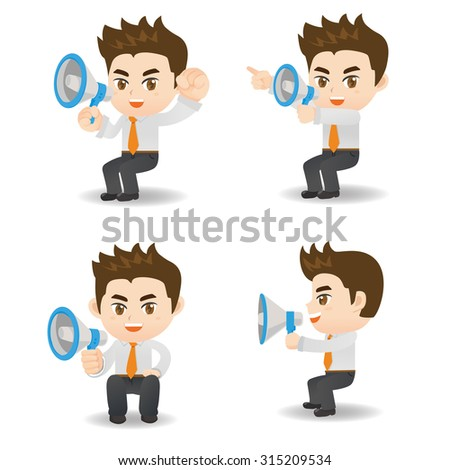 Cartoon set of Businessman sit and shout trumpet and megaphone - stock vector
