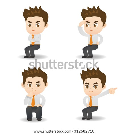 cartoon set of businessman sit and show guesture