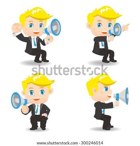 Cartoon set of Businessman sit and show trumpet and , caucasian - stock vector