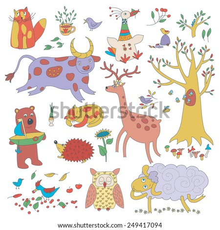 Cartoon Set Of Cute Animals And Plants - stock vector