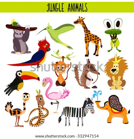 Cartoon Set of Cute Animals monkey, lion, Zebra, elephant, snake and bird Toucan, Flamingo, humming bird tropical jungle and wet forests isolated on white background. Vector illustration - stock vector