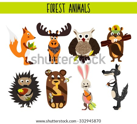 Cartoon Set of Cute Woodland and Forest Animals moose, owl, wolf, Fox, rabbit, beaver, bear, moose isolated on a white background. Vector illustration - stock vector