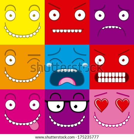 Cartoon Set Of Different Cute Faces
