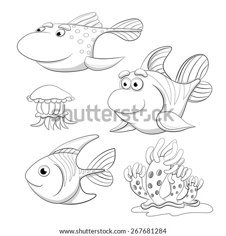 Cartoon set of funny fishes, jellyfish and mollusc. Coloring book. - stock vector