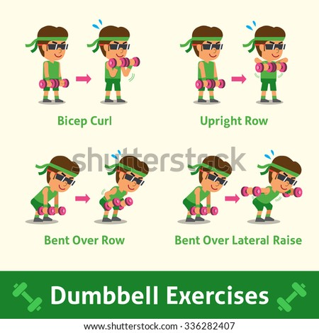 Cartoon set of man doing dumbbell exercise step for health and fitness