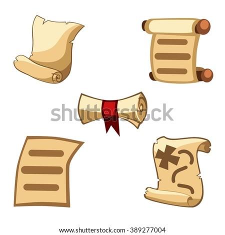 Cartoon set of scrolls  - stock vector