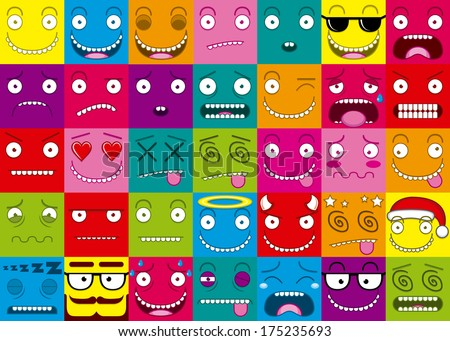 Cartoon Set Of Thirty-five Different Faces