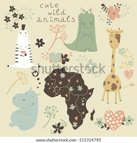 Cartoon set of wild animals and flowers. Cute cartoon characters in the vector. eps  - stock vector