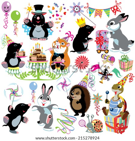 cartoon set with birthday party of mole, isolated images for little kids - stock vector
