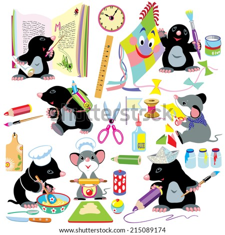 cartoon set with creative activities for young children, little mole and mouse creating using a lot of school tools