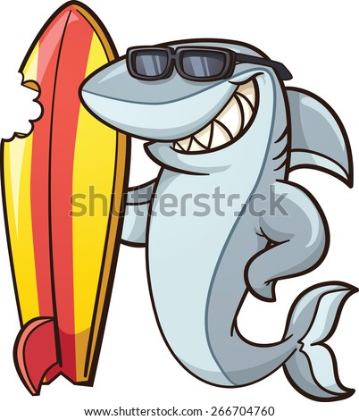 Cartoon shark with a bitten surfboard. Vector clip art illustration with simple gradients. All in a single layer. - stock vector