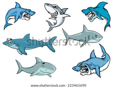 Cartoon sharks with various expressions from fierce and evil baring its teeth, to an evil smile, to a happy contented smiling shark in nautical blue, vector illustration on white - stock vector