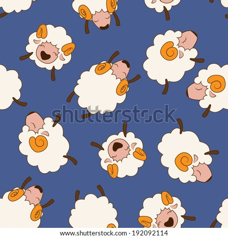 Cartoon sheep. Vector seamless pattern. - stock vector