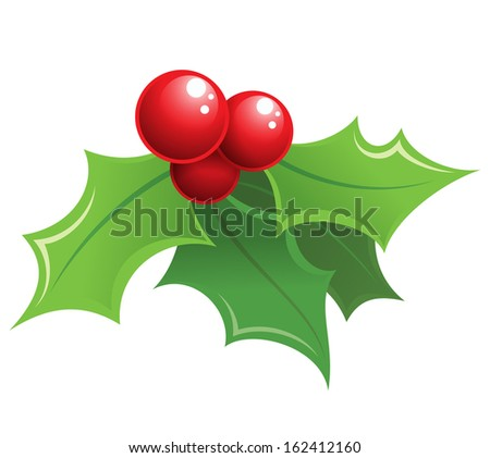 Cartoon shiny Christmas mistletoe decorative red and green ornament  - stock vector