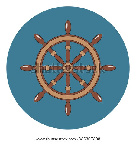 Cartoon ship wheel. Vector illustration