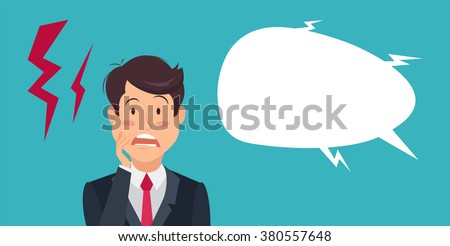 Cartoon shocked and surprised  businessman standing with wide open mouth and speech bubble. Emotion expression, wow, omg, surprise concept. Eps 8 - stock vector