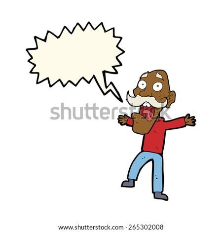 cartoon shocked old man with speech bubble - stock vector