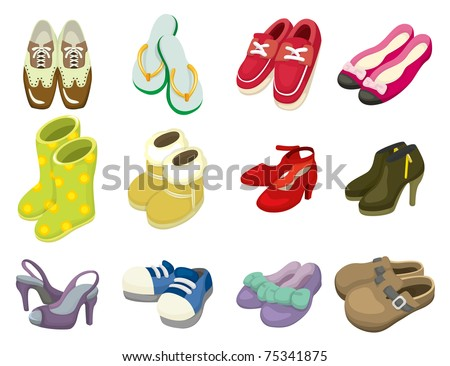 cartoon shoes icon - stock vector