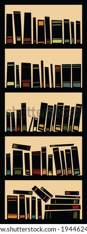Cartoon silhouette of a full bookcase.