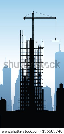 Cartoon silhouette of a skyscraper under construction.