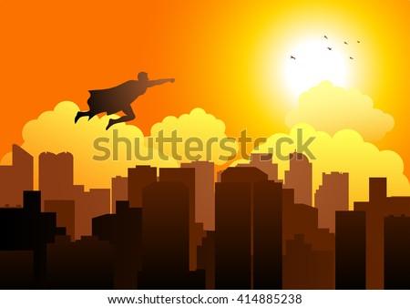 Cartoon silhouette of a superhero flying on cityscape - stock vector