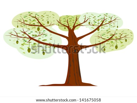 Cartoon silhouette of a tree with colorful leaves.