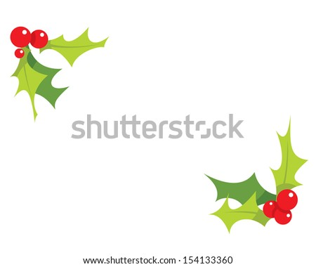 Cartoon simple mistletoes decorative red and green ornaments  - stock vector