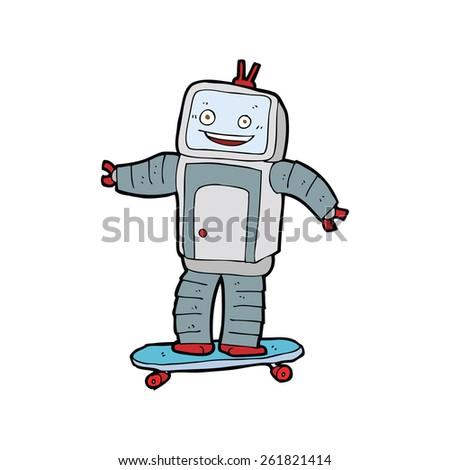 cartoon skateboarding robot - stock vector