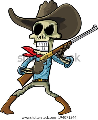 Cartoon skeleton cowboy with a gun. Isolated on white - stock vector