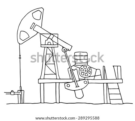 Cartoon sketch field  pumpjack. Colored oil well illustration. 