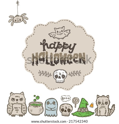 Cartoon sketch Happy halloween background card with lettering sticker on it with owl, cat, bat, pumpkin, candle, cauldron, witch hat, lollipop, candy, corn, spider. - stock vector