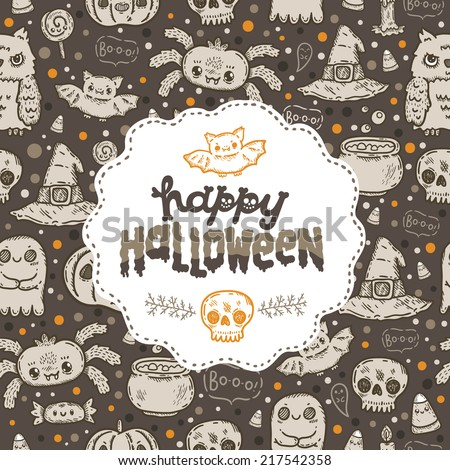 Cartoon sketch Happy halloween holiday pattern with lettering sticker on it with owl, cat, bat, pumpkin, candle, cauldron, witch hat, lollipop, candy, corn, spider. - stock vector