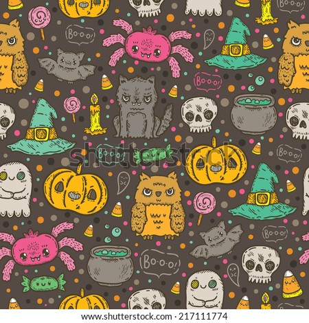Cartoon sketch Happy halloween holiday pattern with owl, cat, bat, pumpkin, candle, cauldron, witch hat, lollipop, candy, corn, spider. - stock vector