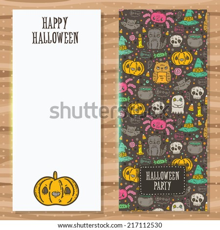 Cartoon sketch Happy halloween party invitation with holiday pattern. Card template. Banner background.  - stock vector