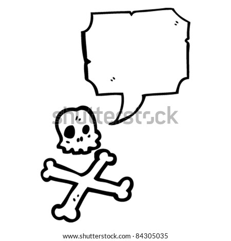 cartoon skull and crossbones with speech bubble