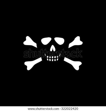 Cartoon skull with bones. Simple flat icon. Black and white. Vector illustration