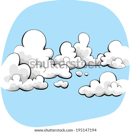 Cartoon sky with soft, friendly clouds.