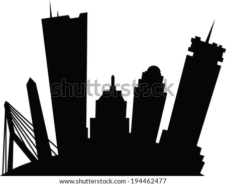 Cartoon skyline silhouette of the city of Boston, Massachusetts, USA.