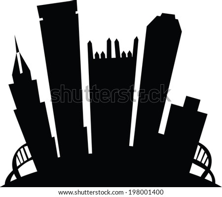 Cartoon skyline silhouette of the city of Pittsburgh, Pennsylvania, USA.