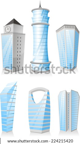 Cartoon Skyscrapers Tower skyscraper apartment penthouse edifice structure set - stock vector