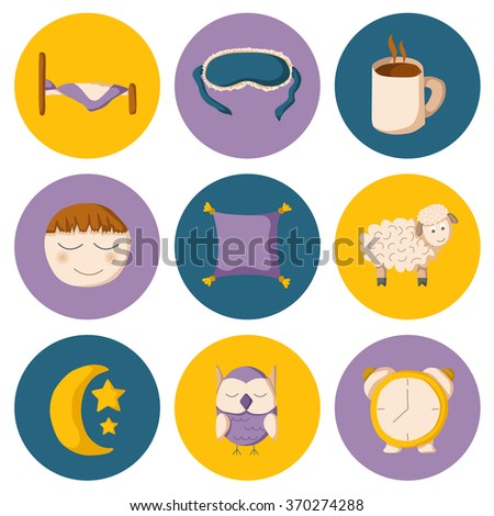 Cartoon sleep icons - stock vector