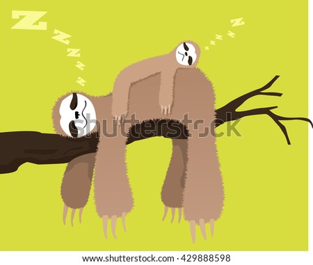 Cartoon sloth sleeping on a branch with a baby sloth on his back, EPS 8 vector illustration, no transparencies - stock vector