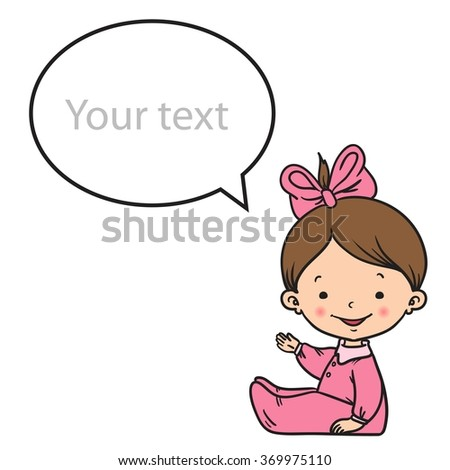 Cartoon small girl shows and speaks. Vector color illustration. - stock vector